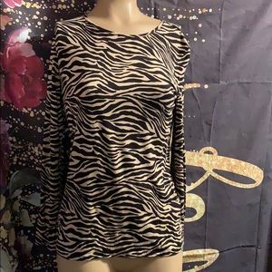Chico's size 4 or 0 on tag.  Nice top zebra